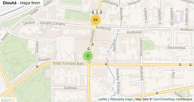 Dlouhá - mapa rozložení firem v ulici.