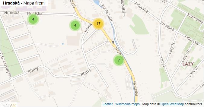 Hradská - mapa rozložení firem v ulici.
