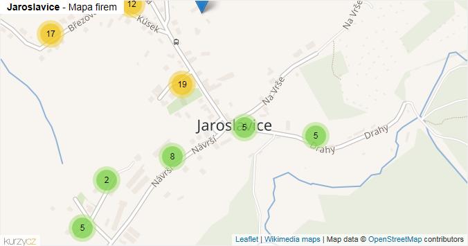 Jaroslavice - mapa rozložení firem v části obce.