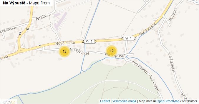 Na Výpustě - mapa rozložení firem v ulici.
