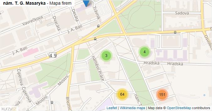 nám. T. G. Masaryka - mapa rozložení firem v ulici.