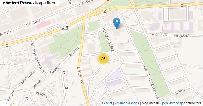 náměstí Práce - mapa rozložení firem v ulici.