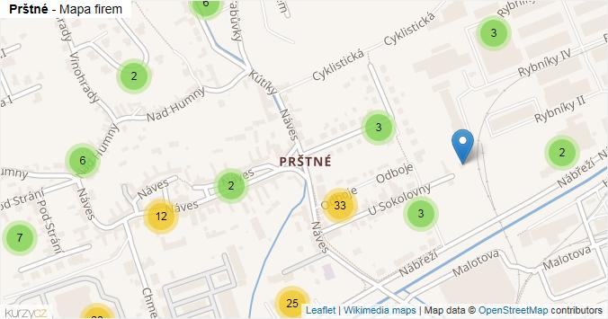 Prštné - mapa rozložení firem v části obce.
