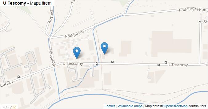 U Tescomy - mapa rozložení firem v ulici.