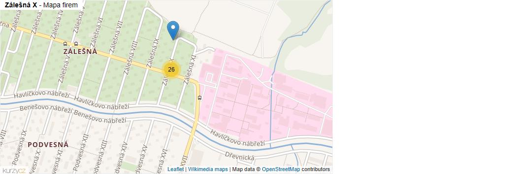 Zálešná X - mapa rozložení firem v ulici.