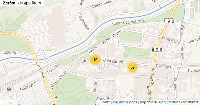 Zarámí - mapa rozložení firem v ulici.