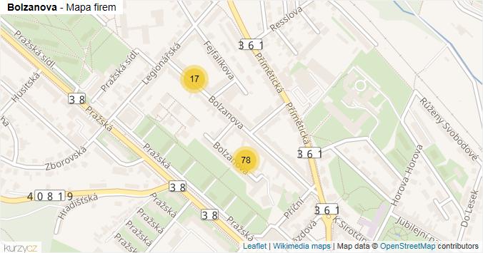 Bolzanova - mapa rozložení firem v ulici.