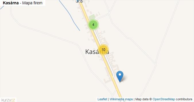 Kasárna - mapa rozložení firem v části obce.