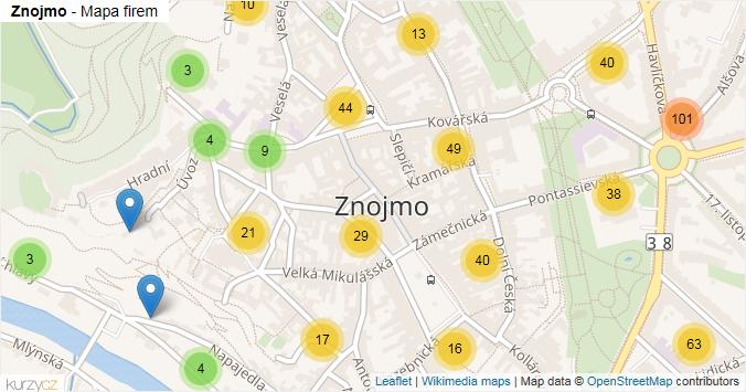 Znojmo - mapa rozložení firem v části obce.