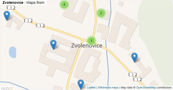 Zvolenovice - mapa rozložení firem v obci.