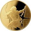 Zlatá mince Samson v chrámu Pelištejců 10 NIS Izrael Biblické umění 2016 Proof