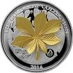 Stříbrná mince 3D Zlatý Chestnut Leaf 1 Oz Gold Leaf Collection 2014 Proof