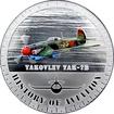 Stříbrná mince kolorovaný Jakovlev Jak-7B History of Aviation 2014 Proof