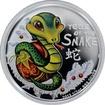 Stříbrná mince kolorovaný Baby Snake Rok Hada 2013 Proof
