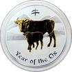 Stříbrná mince pozlacený Year of the Ox Rok Buvola Lunární 1 Oz 2009 Standard