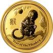 Zlatá investiční mince Year of the Monkey Rok Opice Lunární 1/2 Oz 2016