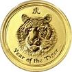 Zlatá investiční mince Year of the Tiger Rok Tygra Lunární 1/10 Oz 2010