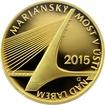 Zlatá mince 5000 Kč Mariánský most v Ústí nad Labem 2015 Proof