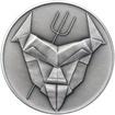 Čert a Mikuláš českého kubisty 25 mm stříbro patina