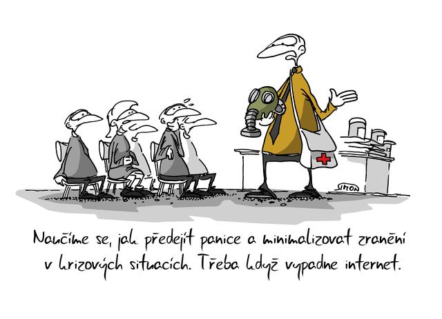 Kreslený vtip: Naučíme se, jak předejít panice a minimalizovat zranění v krizových situacích. Třeba když vypadne internet. Autor: Marek Simon