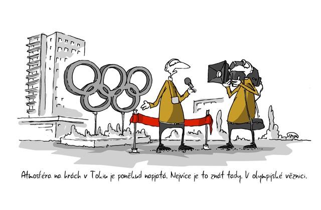 Kreslený vtip: Atmosféra na hrách v Tokiu je poněkud napjatá. Nejvíce je to znát tady. V olympijské věznici. Autor: Marek Simon