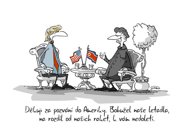 Kreslený vtip: Děkuji za pozvání do Ameriky. Bohužel naše letadla, na rozdíl od našich raket, k vám nedoletí. Autor: Marek Simon