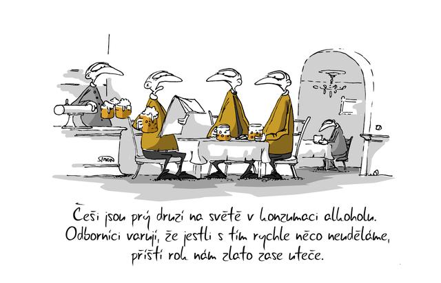 Kreslený vtip: Češi jsou prý druzí na světě v konzumaci alkoholu. Odborníci varují, že jestli s tím rychle něco neuděláme, příští rok nám zlato zase uteče. Autor: Marek Simon