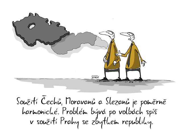 Souziti Cechu Moravanu A Prahy Kresleny Vtip