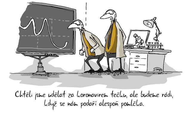 Kreslený vtip: Chtěli jsme udělat za koronavirem tečku, ale budeme rádi, když se nám podaří alespoň pomlčka. Autor: Marek Simon