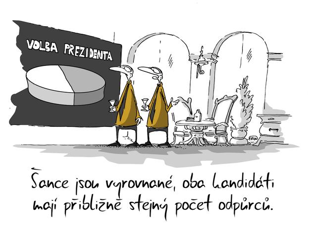 Kreslený vtip: Šance jsou vyrovnané, oba kandidáti mají přibližně stejný počet odpůrců. Autor: Marek Simon