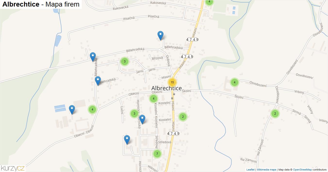 Albrechtice - mapa firem