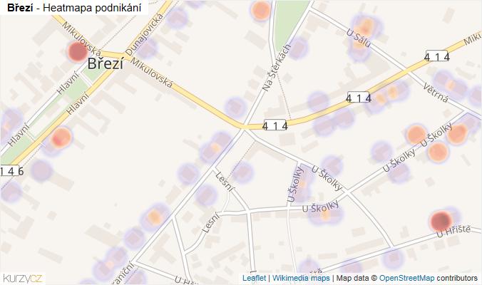 Mapa Březí - Firmy v části obce.