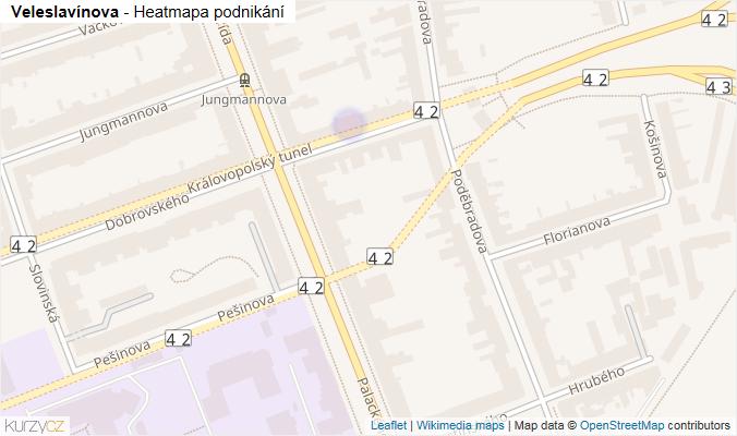 Mapa Veleslavínova - Firmy v ulici.
