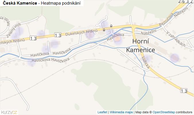 Mapa Česká Kamenice - Firmy v obci.