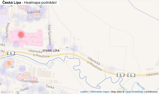 Mapa Česká Lípa - Firmy v obci.