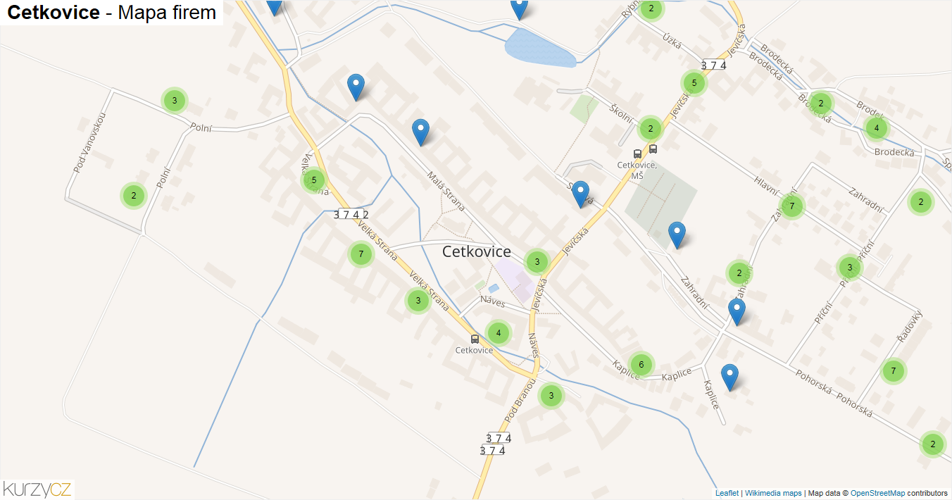 Cetkovice - mapa firem