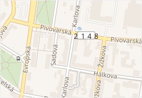 Karlova v obci Cheb - mapa ulice
