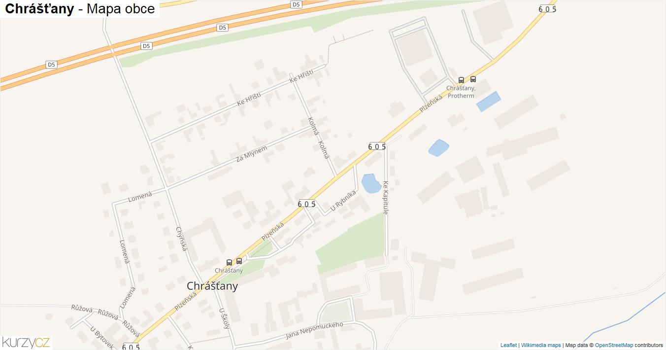 Chrášťany - mapa obce