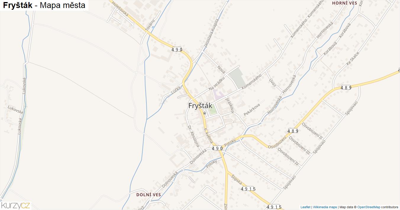Fryšták - mapa města