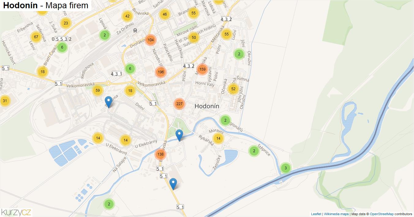 Hodonín - mapa firem
