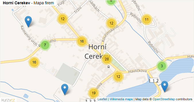 Mapa Horní Cerekev - Firmy v obci.