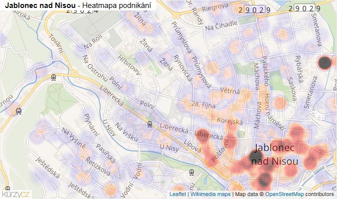 Mapa Jablonec nad Nisou - Firmy v obci.