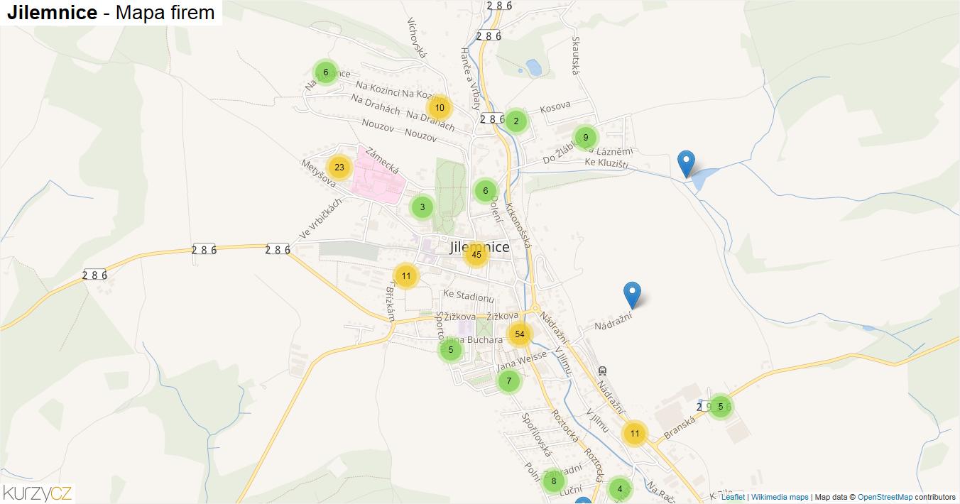 Jilemnice - mapa firem
