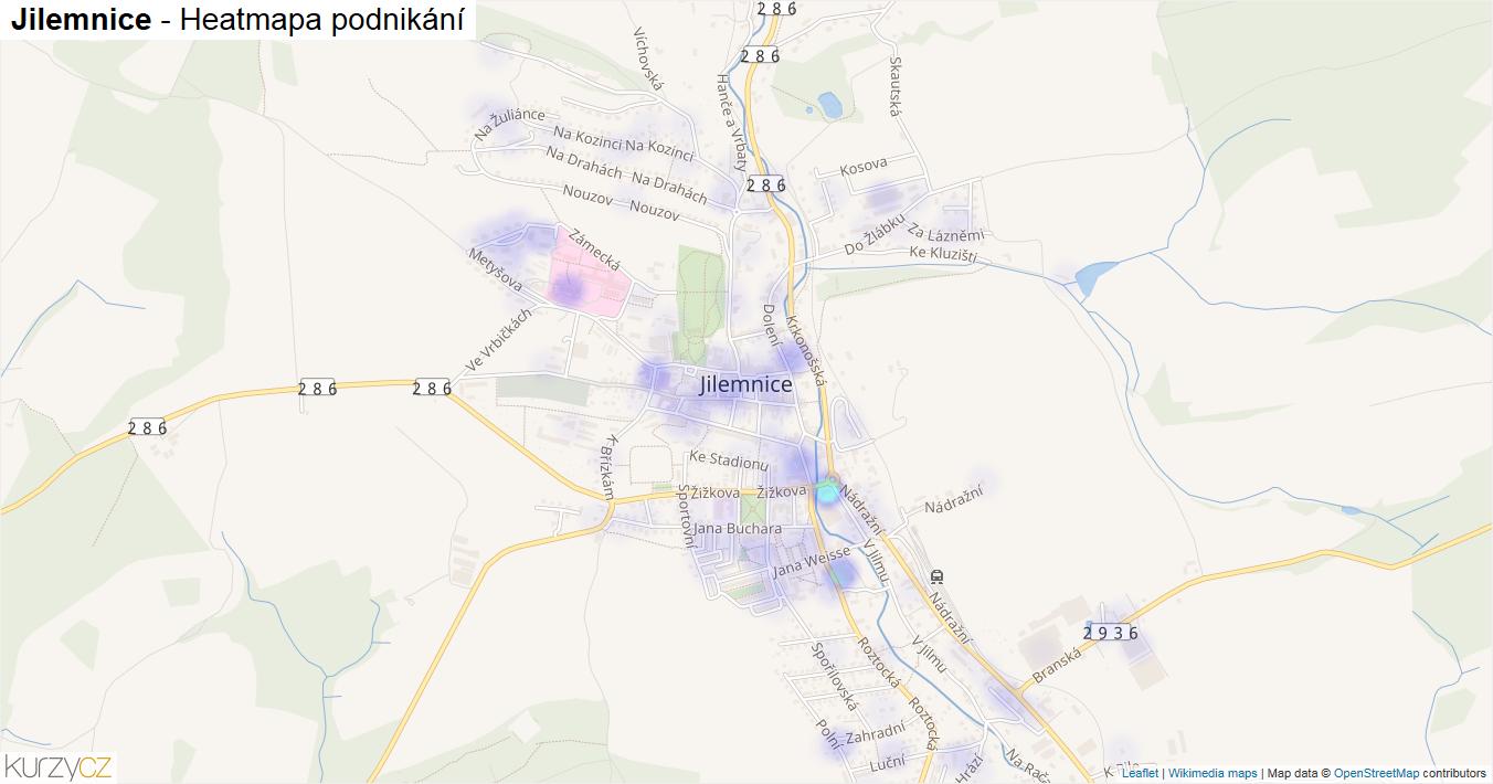 Jilemnice - mapa podnikání