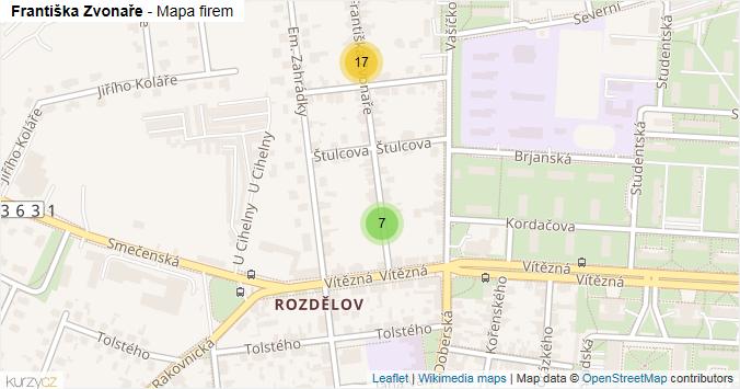 Mapa Františka Zvonaře - Firmy v ulici.
