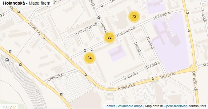 Mapa Holandská - Firmy v ulici.