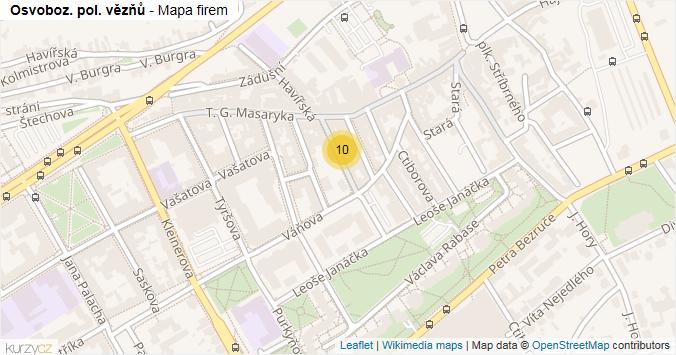 Mapa Osvoboz. pol. vězňů - Firmy v ulici.