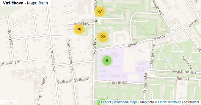 Mapa Vašíčkova - Firmy v ulici.