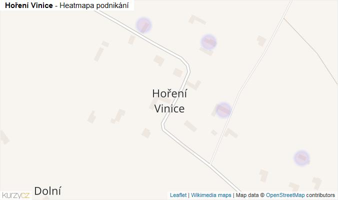 Mapa Hoření Vinice - Firmy v části obce.