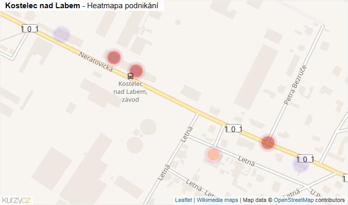 Mapa Kostelec nad Labem - Firmy v obci.